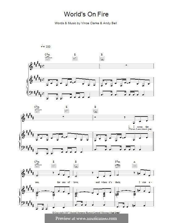 World's on Fire (Erasure): Für Stimme und Klavier (oder Gitarre) by Andy Bell, Vince Clarke
