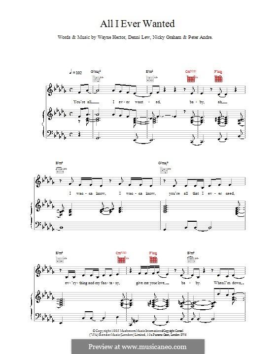 All I Ever Wanted (Peter Andre): Für Stimme und Klavier (oder Gitarre) by Deni Lew, Nicky Graham, Wayne Anthony Hector