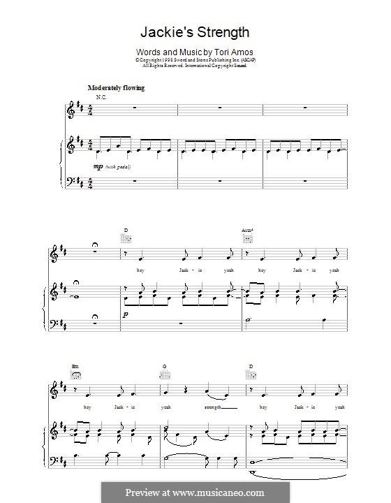 Jackie's Strength: Für Stimme und Klavier (oder Gitarre) by Tori Amos