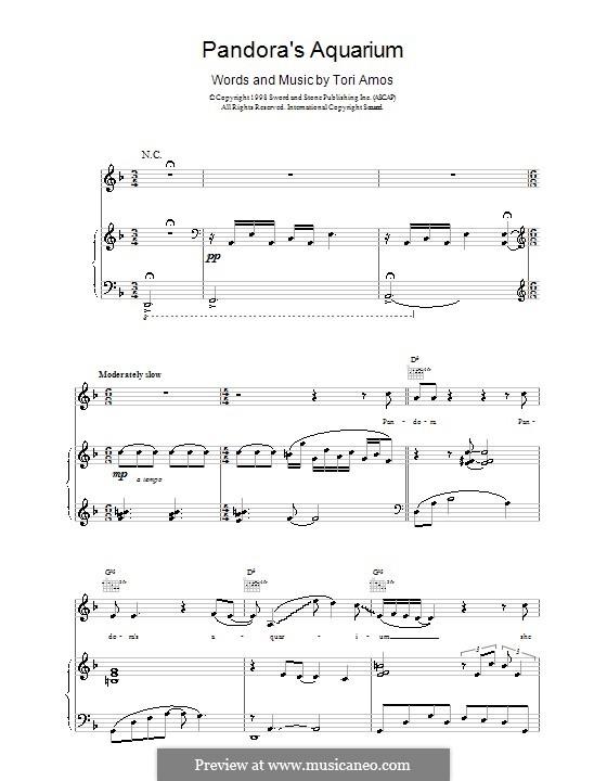 Pandora's Aquarium: Für Stimme und Klavier (oder Gitarre) by Tori Amos