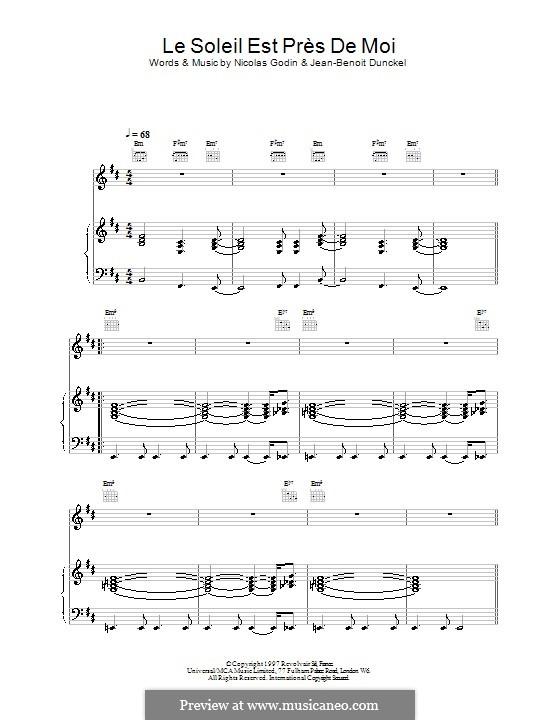 Le Soleil Est Près de Moi (Air): Für Stimme und Klavier (oder Gitarre) by Jean-Benoit Dunckel, Nicolas Godin