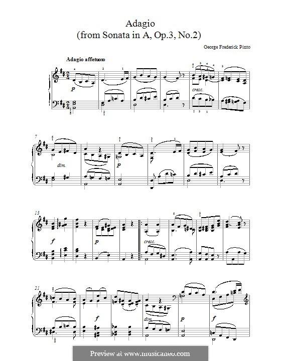 Sonate für Klavier Nr.2, Op.3: Adagio by George Frederick Pinto