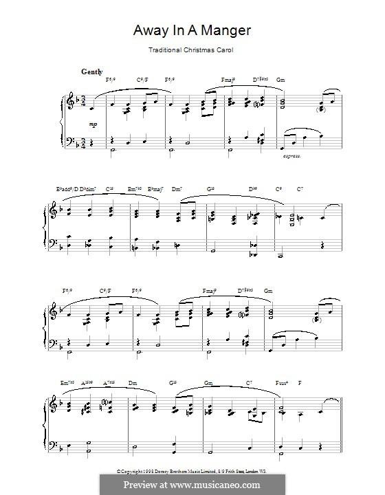 Away in a Manger: Für Klavier (F-Dur) by folklore