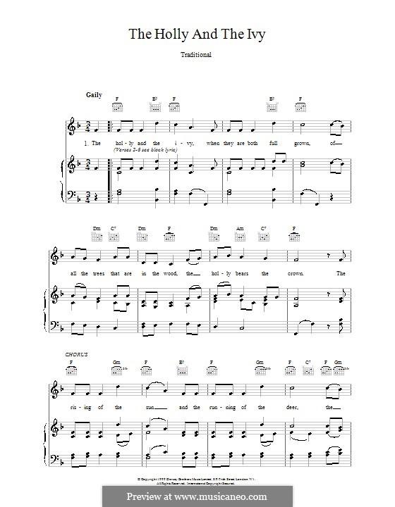 The Holly and the Ivy: Für Stimme und Klavier oder Gitarre (F-Dur) by folklore