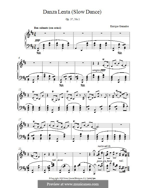 Zwei Spanische Tänze, Op.37: Danza lenta, für Klavier by Enrique Granados