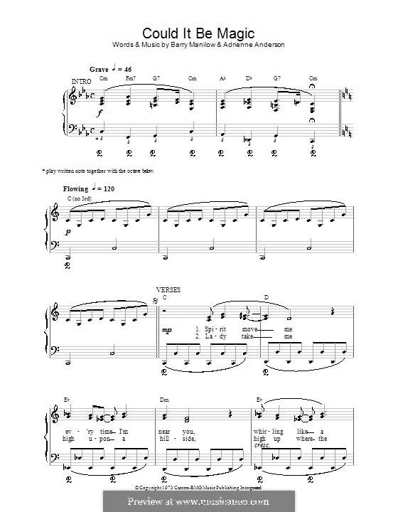 Could It Be Magic Von A Anderson B Manilow Noten Auf Musicaneo