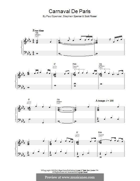 Carnaval de Paris (World Cup '98): Für Klavier und Gitarre by Paul Spencer, Scott Rosser, Stephen Spencer