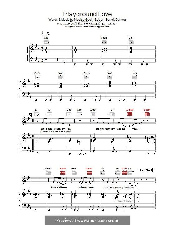 Playground Love (from The Virgin Suicides): Für Stimme mit Klavier oder Gitarre (Air) by Jean-Benoit Dunckel, Nicolas Godin