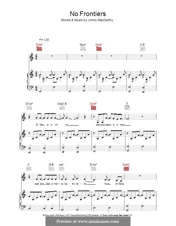 No Frontiers (The Corrs): Für Stimme und Klavier (oder Gitarre) by Jimmy MacCarthy
