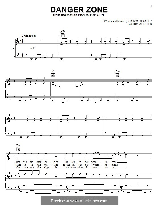Danger Zone (from Top Gun): Für Stimme und Klavier (oder Gitarre) by Giorgio Moroder, Tom Whitlock