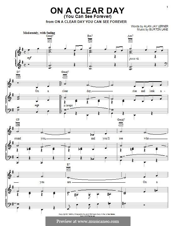 On a Clear Day (You Can See Forever): Für Stimme und Klavier (oder Gitarre) by Burton Lane