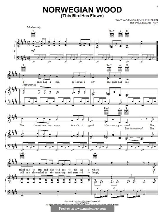 Norwegian Wood (This Bird Has Flown): Für Stimme und Klavier (oder Gitarre) by John Lennon, Paul McCartney