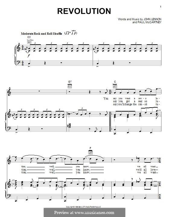 Revolution (The Beatles): Für Stimme und Klavier (oder Gitarre) by John Lennon, Paul McCartney