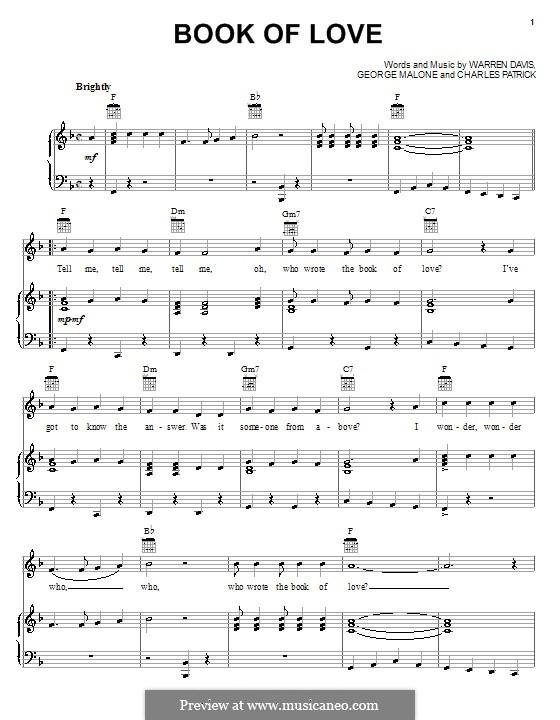 Book of Love (The Monotones): Für Stimme und Klavier (oder Gitarre) by Charles Patrick, George Malone, Warren Davis