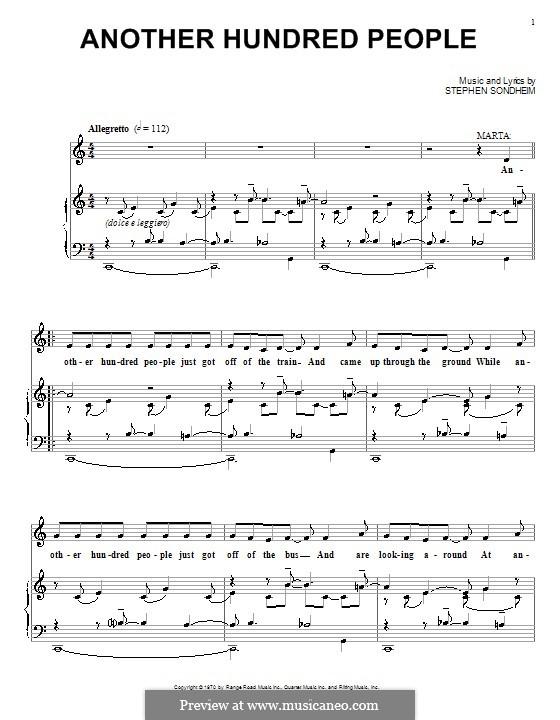 Another Hundred People: Für Stimme und Klavier (oder Gitarre) by Stephen Sondheim