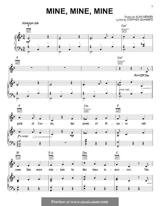 Mine, Mine, Mine (from Pocahontas): Für Stimme und Klavier (oder Gitarre) by Stephen Schwartz