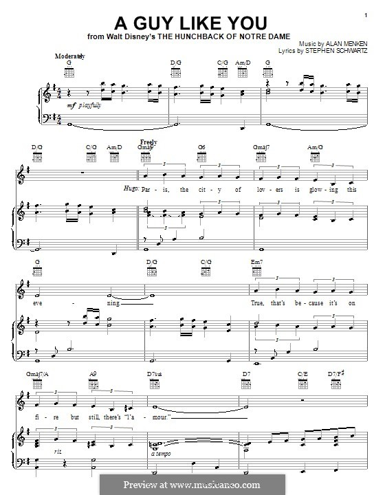 A Guy Like You (from The Hunchback of Notre Dame): Für Stimme und Klavier (oder Gitarre) by Stephen Schwartz