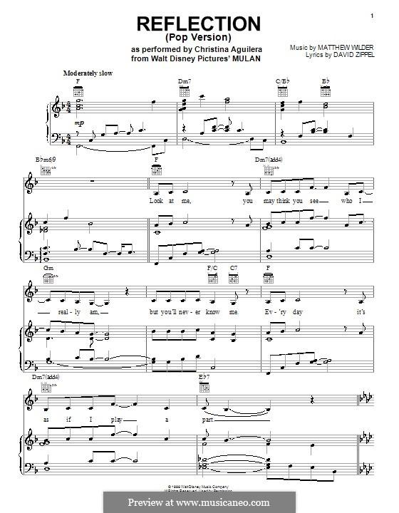 Reflection (from Disney's Mulan): Für Stimme mit Klavier oder Gitarre (pop version) by Matthew Wilder
