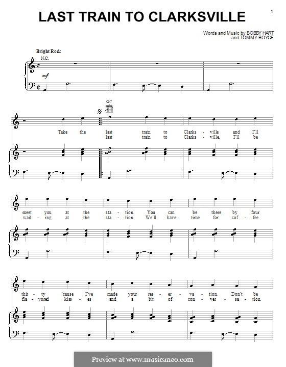 Last Train to Clarksville (The Monkees): Für Stimme und Klavier (oder Gitarre) by Bobby Hart, Tommy Boyce