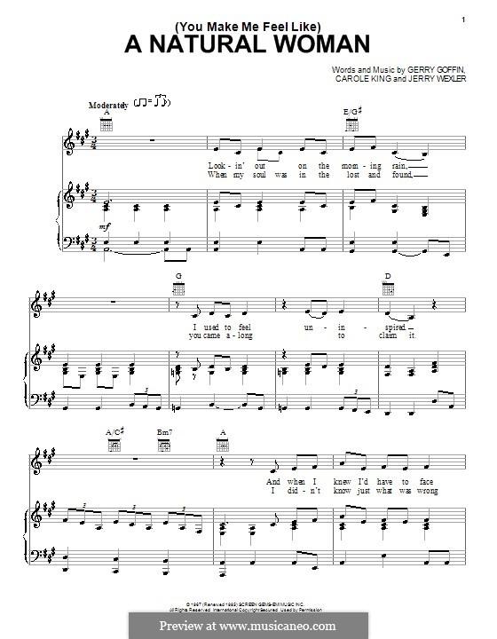 (You Make Me Feel Like) A Natural Woman (Aretha Franklin): Für Stimme und Klavier (oder Gitarre) by Carole King, Gerry Goffin, Jerry Wexler