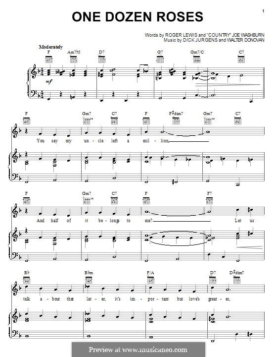 One Dozen Roses (Country Joe Washburn): Für Stimme und Klavier (oder Gitarre) by Roger Lewis, Dick Jurgens