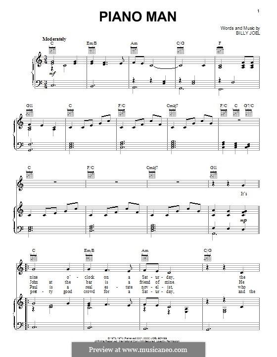 Piano Man: Für Stimme und Klavier (oder Gitarre) by Billy Joel