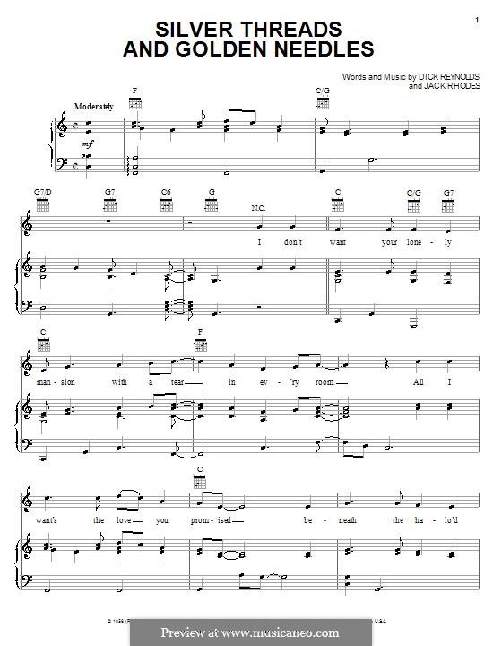 Silver Threads and Golden Needles (Linda Ronstadt): Für Stimme und Klavier (oder Gitarre) by Dick Reynolds, Jack Rhodes