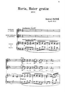 Maria, Mater gratiæ, Op.47 No.2: Partitur by Gabriel Fauré