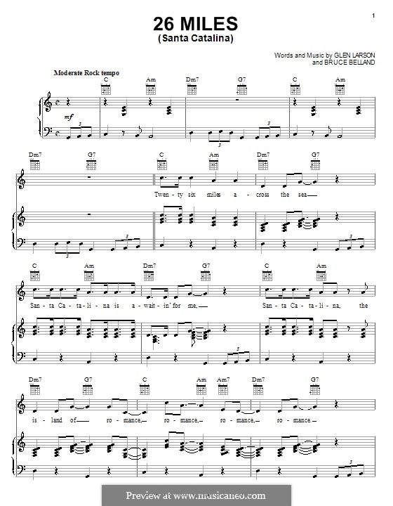 26 Miles (Santa Catalina): Für Stimme mit Klavier oder Gitarre (The Four Preps) by Bruce Belland, Glen Larson