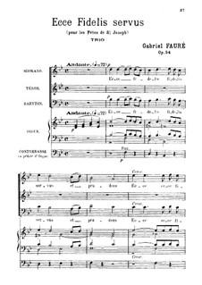 Ecce fidelis servus, Op.54: Ecce fidelis servus by Gabriel Fauré