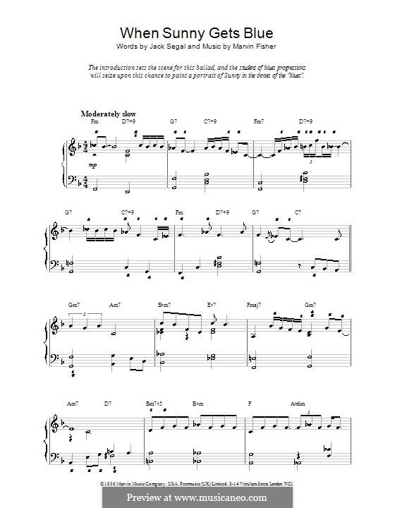 When Sunny Gets Blue (Frank Sinatra): Für Klavier, leicht by Marvin Fisher