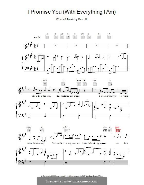 I Promise You (Backstreet Boys): Für Stimme und Klavier (oder Gitarre) by Dan Hill
