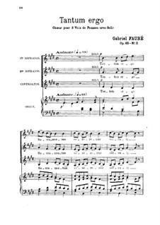 Tantum ergo, Op.65 No.2: Für Stimmen und Orgel by Gabriel Fauré