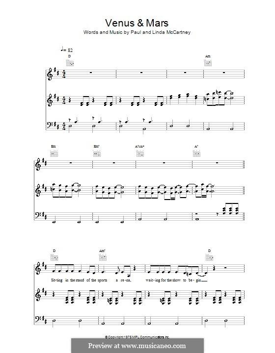 Venus and Mars (Wings): Für Stimme und Klavier (oder Gitarre) by Linda McCartney, Paul McCartney
