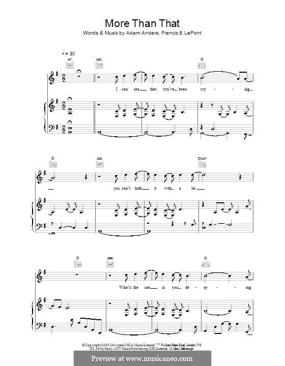 More Than That (Backstreet Boys): Für Stimme und Klavier (oder Gitarre) by Adam Anders