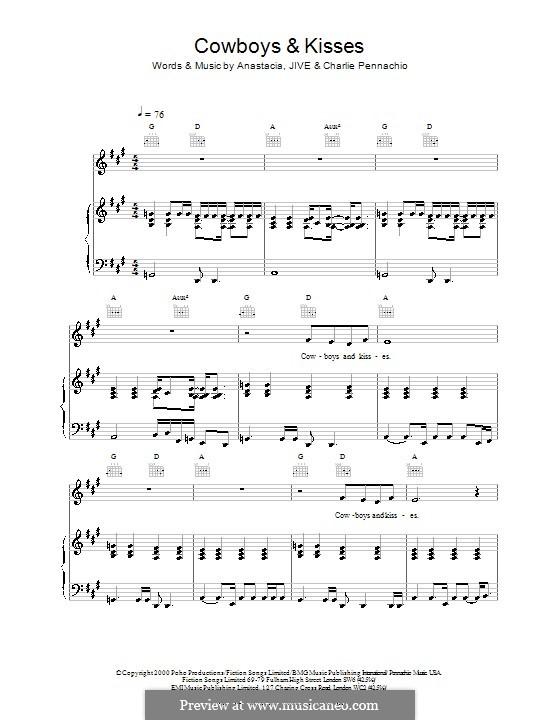 Cowboys & Kisses (Anastacia): Für Stimme und Klavier (oder Gitarre) by Charlie Pennachio