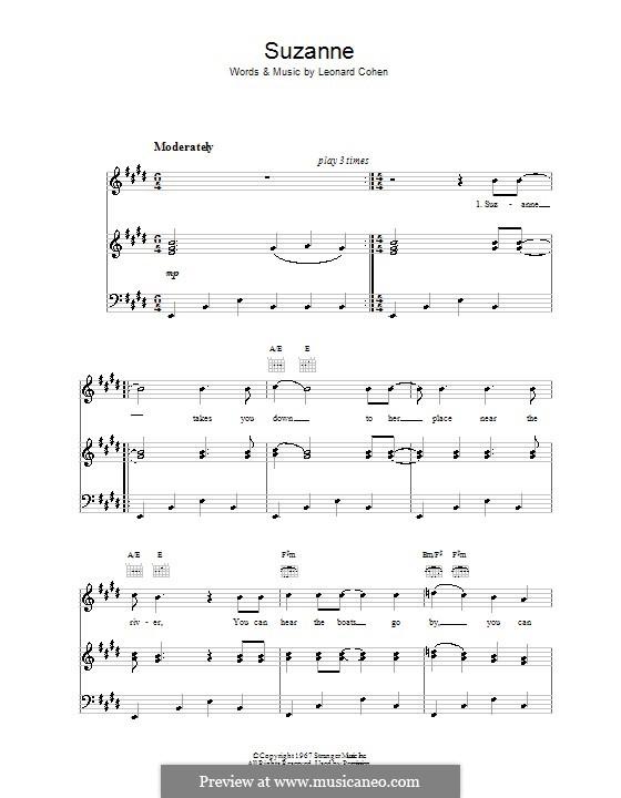 Suzanne: Für Stimme und Klavier (oder Gitarre) by Leonard Cohen