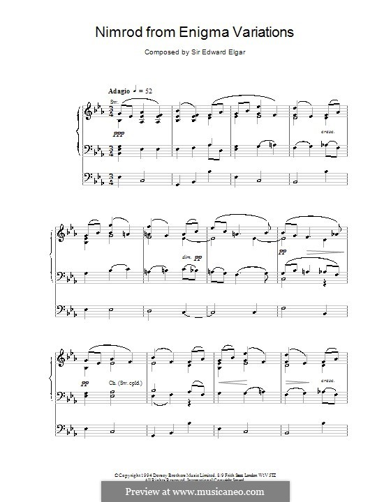 Variation Nr.9 'Nimrod': Für Orgel by Edward Elgar