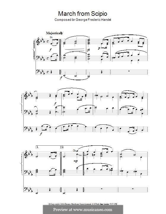 Scipione, HWV 20: Marsch. Bearbeitung für Orgel by Georg Friedrich Händel
