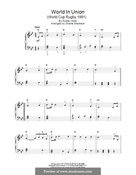 World in Union (World Cup Rugby 1991): Für Klavier by Gustav Holst