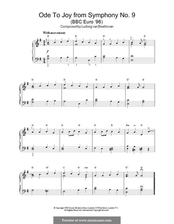 Ode an die Freude, für Klavier: With chords by Ludwig van Beethoven