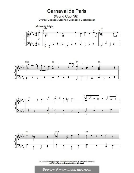 Carnaval de Paris (World Cup '98): Für Klavier by Paul Spencer, Scott Rosser, Stephen Spencer
