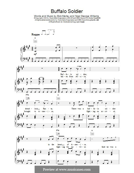 Buffalo Soldier (Bob Marley): Für Stimme und Klavier (oder Gitarre) by Noel Williams