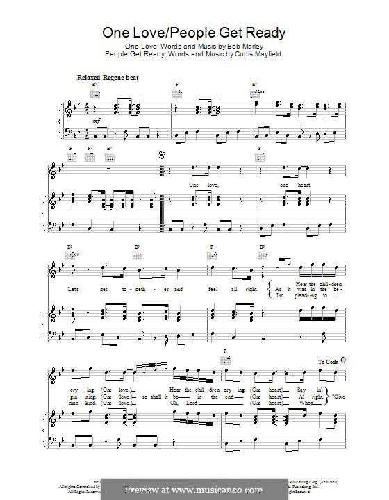 One Love / People Get Ready: Für Stimme und Klavier (oder Gitarre) by Bob Marley, Curtis Mayfield