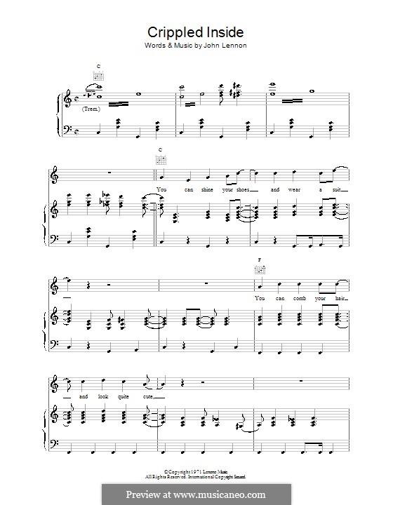 Crippled Inside: Für Stimme und Klavier (oder Gitarre) by John Lennon