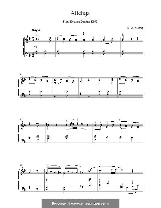 Exsultate, jubilate, K.165: Halleluja, für Klavier by Wolfgang Amadeus Mozart