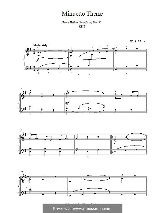 Sinfonie Nr.35 in D-Dur 'Haffner', K.385: Menuett. Bearbeitung für Klavier by Wolfgang Amadeus Mozart