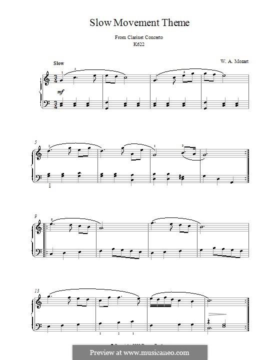 Konzert für Klarinett und Orchester in A-Dur, K.622: Adagio (Thema). Version für Klavier by Wolfgang Amadeus Mozart