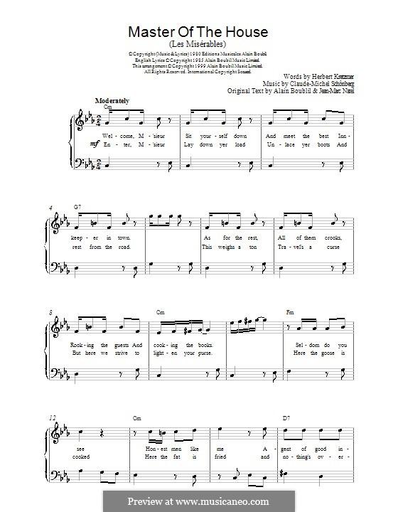 Master of the House: Für Klavier, leicht by Claude-Michel Schönberg