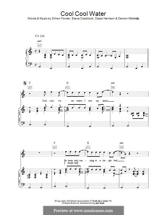 Cool Cool Water (Ocean Colour Scene): Für Stimme und Klavier (oder Gitarre) by Oscar Harrison, Simon Fowler, Steve Cradock